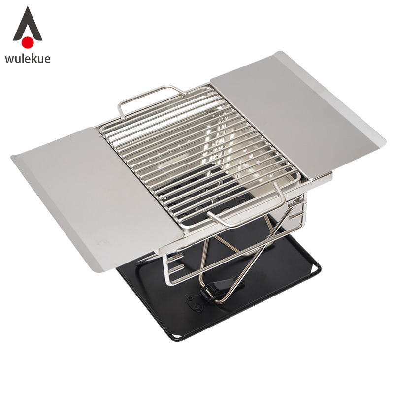 Wulekue acier inoxydable Barbecue charbon de bois Barbecue extérieur Camping pliant Portable cuisinière ménage Barbecue outils