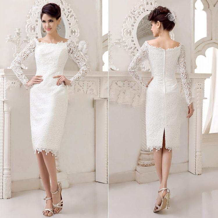 2015 New Knee Length Lace Wedding Dresses Sheath With Long