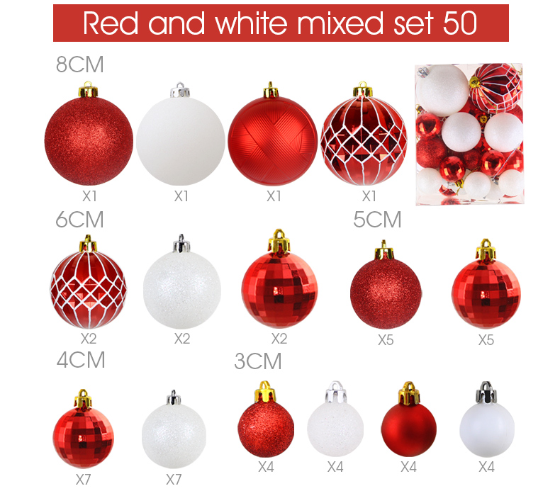 12 inhoo Plastic Christmas Balls For Home Christmas Tree Decorations White Baubles Xmas Ornaments Pendant Balls 2019 New Year Gifts