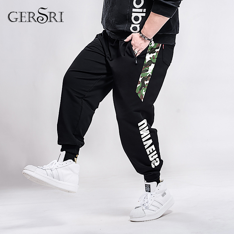 Gersri Fashion Gym Jogging Men Loose Pants Casual Joggers Sweatpants Men Cotton Patchwork Pants Hip Hop Pantolon Plus Size 7XL