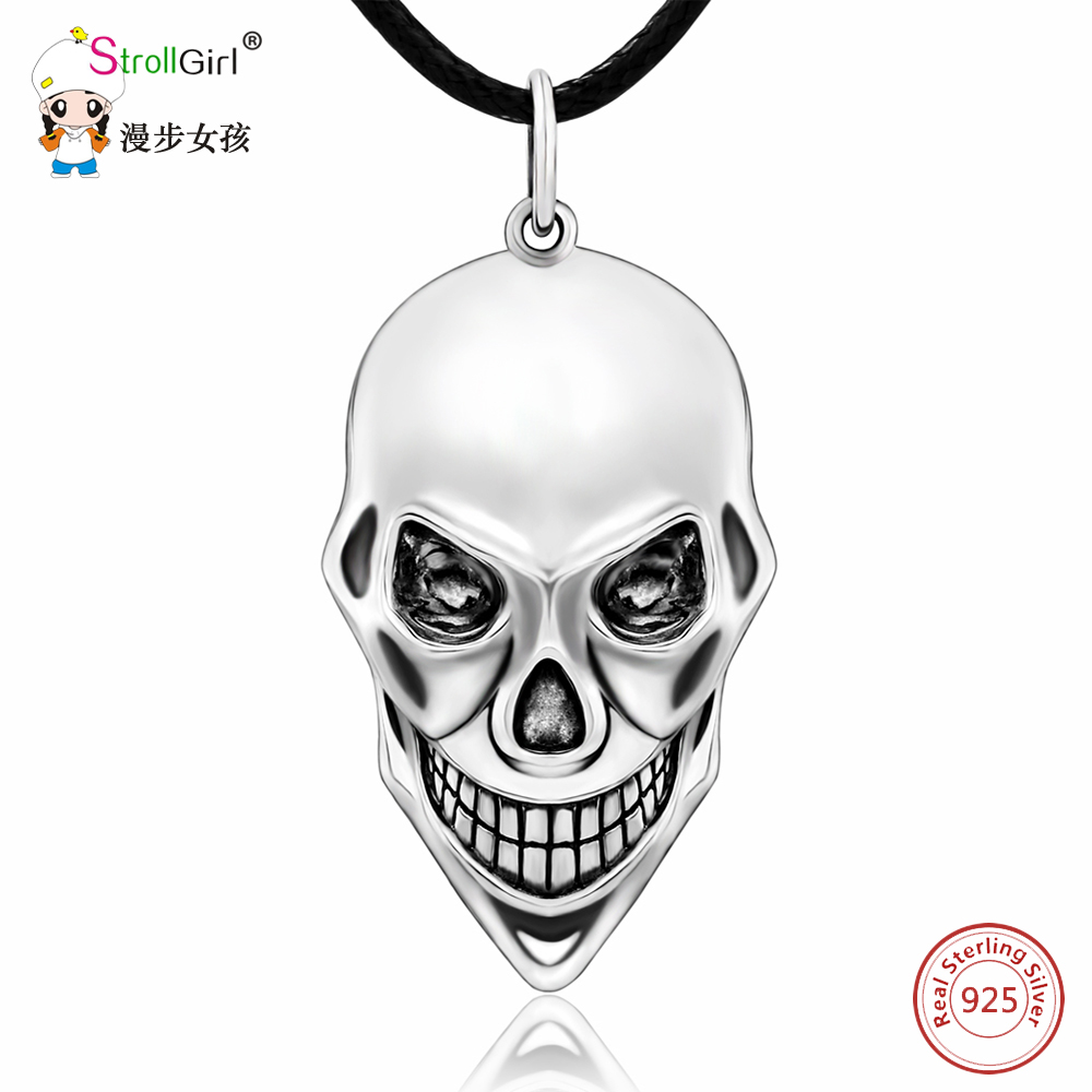 Strollgirl 925 Sterling Silver Skull V for Vendetta Pendants & Necklaces For Women Punk Chain Necklace Fashion Jewelry Gifts 1381 pcs starwars millennium falcon figures model building blocks educational bricks compatible with legoingly star wars toys