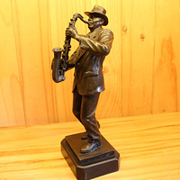 2019 home LIVING ROOM wall TOP Decor ART 30CM country music western music Crazy Saxophone bronze statue sculpture Decoration