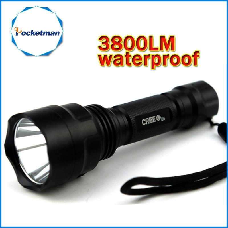 3800lm C8 LED-ficklampa Jaktbrännare Q5 Led Facklampa lyktor Nitecore Vattentät För 1x18650