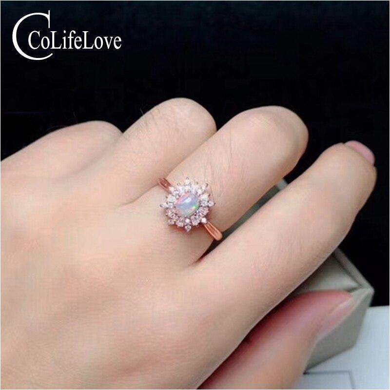 Deslumbrante anillo de plata ópalo de Compromiso 4 mm * 5 mm blanco natural anillo de ópalo de joyas de plata maciza 925 Ópalo, regalo para mujer