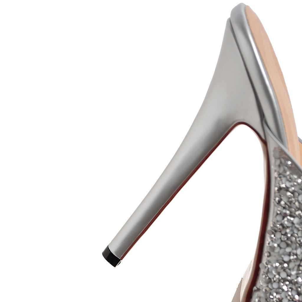 Женские шлепанцы ESRFIYFE, на тонком каблуке, с блестками, Повседневная Уличная обувь, лето 2018