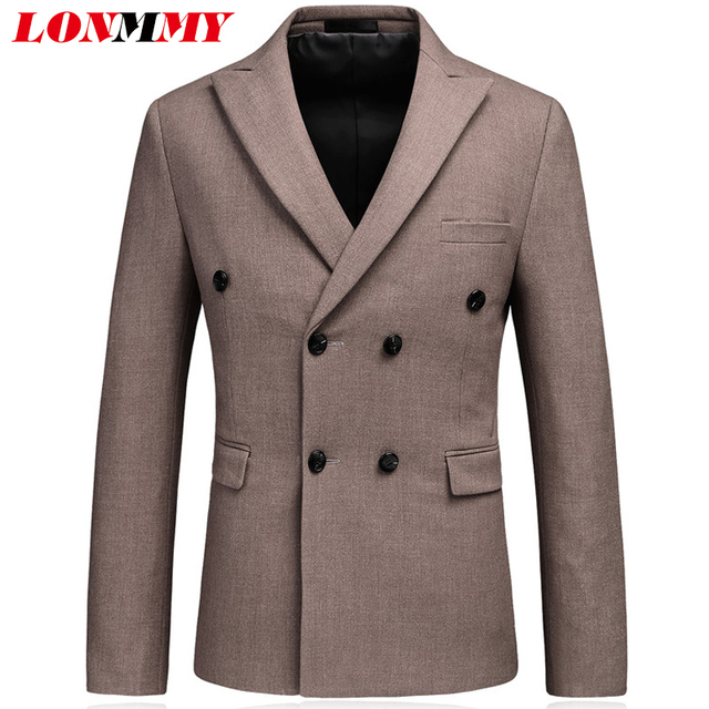 LONMMY Mens blazer jacket Double-breasted Slim fit Cotton polyester Fashion  Wedding dress Mens blazers 083ee8a84e82