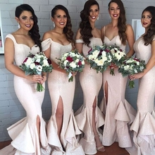 Hot Sale 2016 Summer Style Sequined Mermaid Bridesmaid Dresses Slit Ruffles Skirt Fast Shipping Long Party Dress