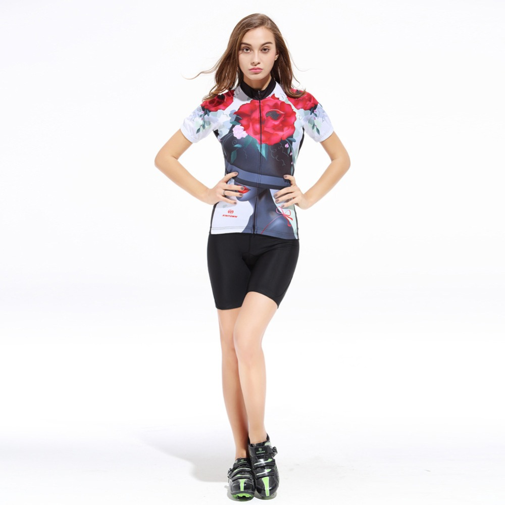 XINTOWN Summer Women Cycling Sets Floral Short Sleeve Jerseys Quick-Dry Bicycle Sportswear Ciclismo GEL Pad Bike Shorts ShirtsXINTOWN Summer Women Cycling Sets Floral Short Sleeve Jerseys Quick-Dry Bicycle Sportswear Ciclismo GEL Pad Bike Shorts Shirts