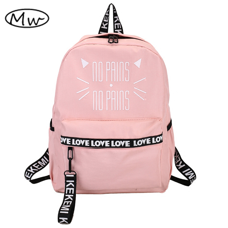 Moon Wood Lovely Cat Letter Printing Backpack Pink School Bags For Teenager Girls Students Book Bag Notebook Backpack Rucksack
