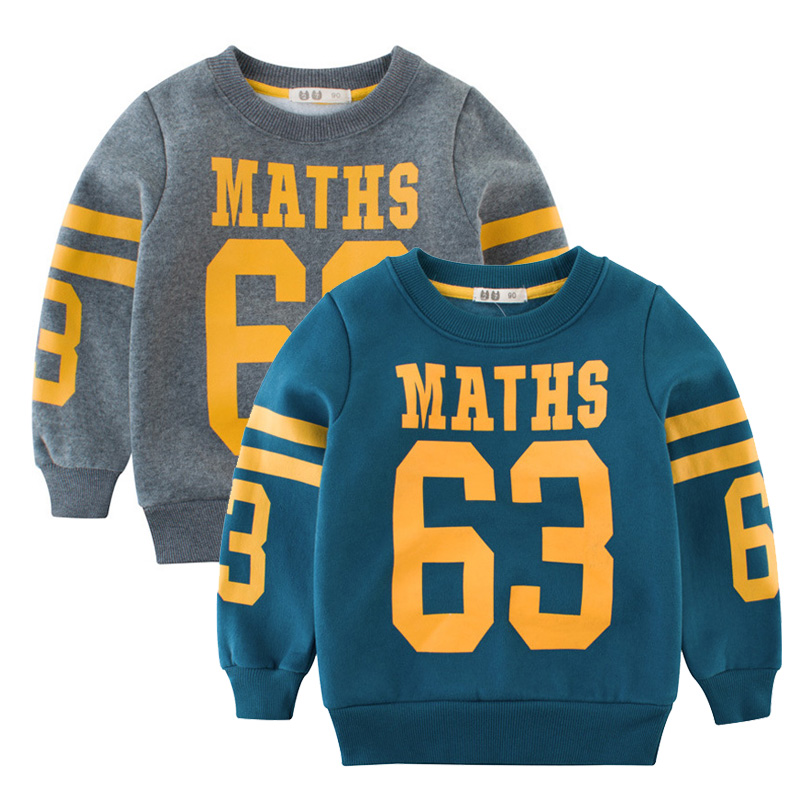 все цены на 2018 Baby Boys Girls Hoodies Clothes Children Winter Letters Printed Sweatshirts Toddler Casual Kids Velvet Jumper Tops Costume онлайн