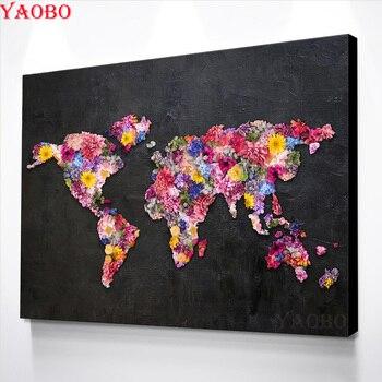 DIY pintura de diamantes nueva 2019 bordado de diamantes flor mapa del mundo punto de cruz diamante mosaico patrón de decoración de diamantes de imitación