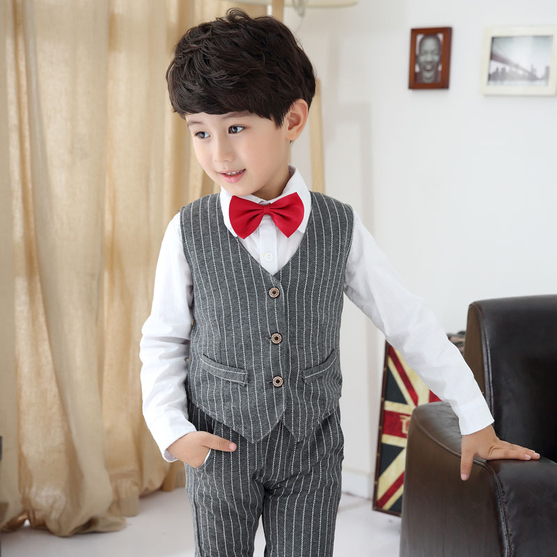 Juinor Boys Clothing Sets Boys Striped Vest+pant+shirt Suits Formal Outfits Kids School Uniform ...