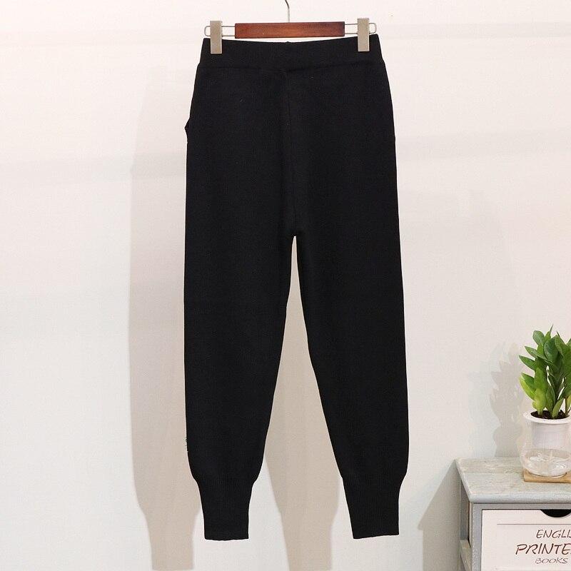 Ensemble À Survêtement Femmes Manches Pièces Automne Black Pantalons Mode Gland Deux Longues 2019 Chandail Nouvelle Harlan Tricoté Hiver Broderie 0waqRWTn