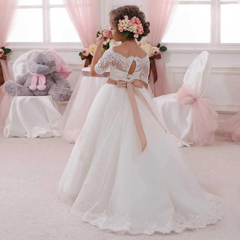 Элегантное платье для причастия, романтичное кружевное платье с открытыми плечами и аппликацией, фатиновое бальное платье с вырезом для ключей для детей от 2 до 14 лет, Vestido de Primera