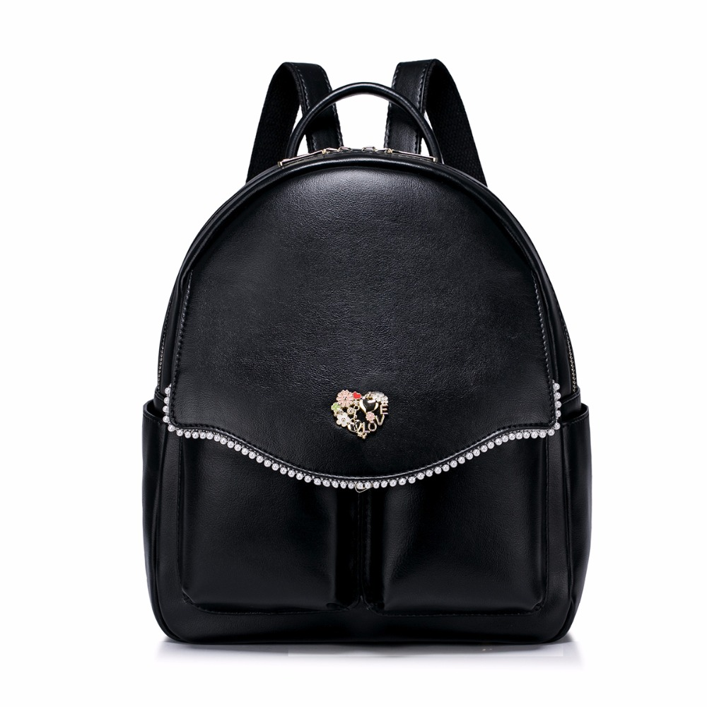 Hot Sale Fashion Pearls Beading PU Leather Casual Women Lady School Travel Backpacks Daypacks Shoulders Bag For Girls Student nucelle brand new design fashion drawstring gemstone lock zipper cow leather casual women lady backpacks shoulders school bag