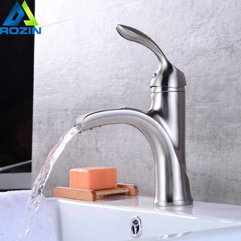 Brushed Nickel Free Shipping Basin Water Faucet Single Lever Bathroom Vessel Sink Mixer Tap Deck Mounted стоимость