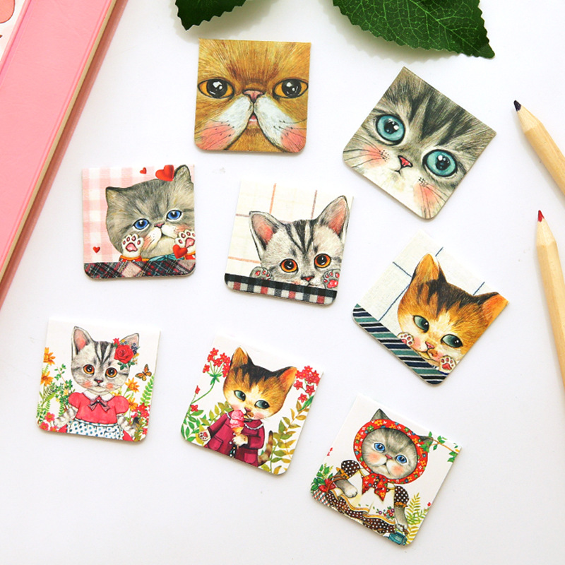 4 Set/Lot Kawaii Kitties Magnetic Book Mark Cute Cat Bookmark Stationery Office School Supplies Marcador Material Escolar F115