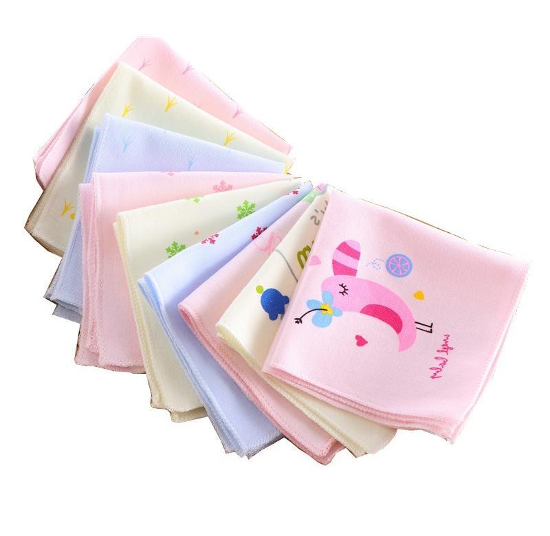 Cartoon Baby Gauze Handkerchiefs Square Pocket Hanky Printed Handkerchief Children Portable Towel 22*22CM