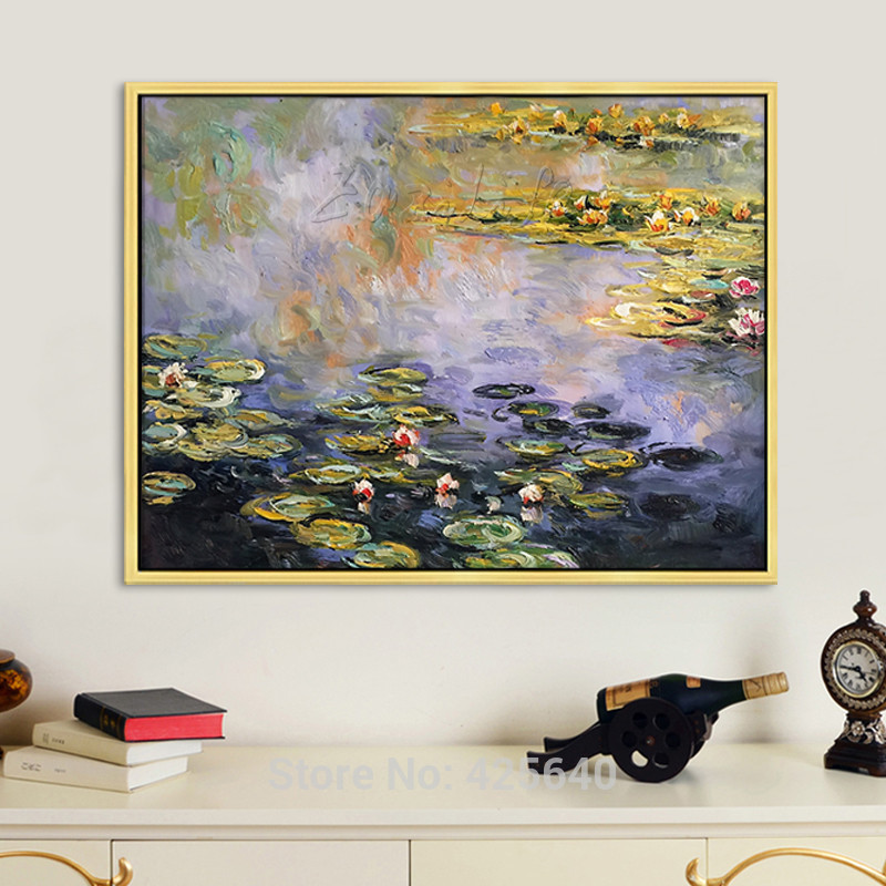 Water lilies  Claude Monet  Oil painting on canvas hight Quality Hand-painted Painting 2