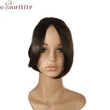 S-noilite, 9 дюймов, 2 зажима, челка на передней части, волосы Fack Bang, боковая бахрома, синтетические челки, шиньон, длинные челки для наращивания