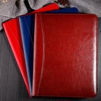 A4 PU leather zipper portfolio business classification folder document clip holder calculator