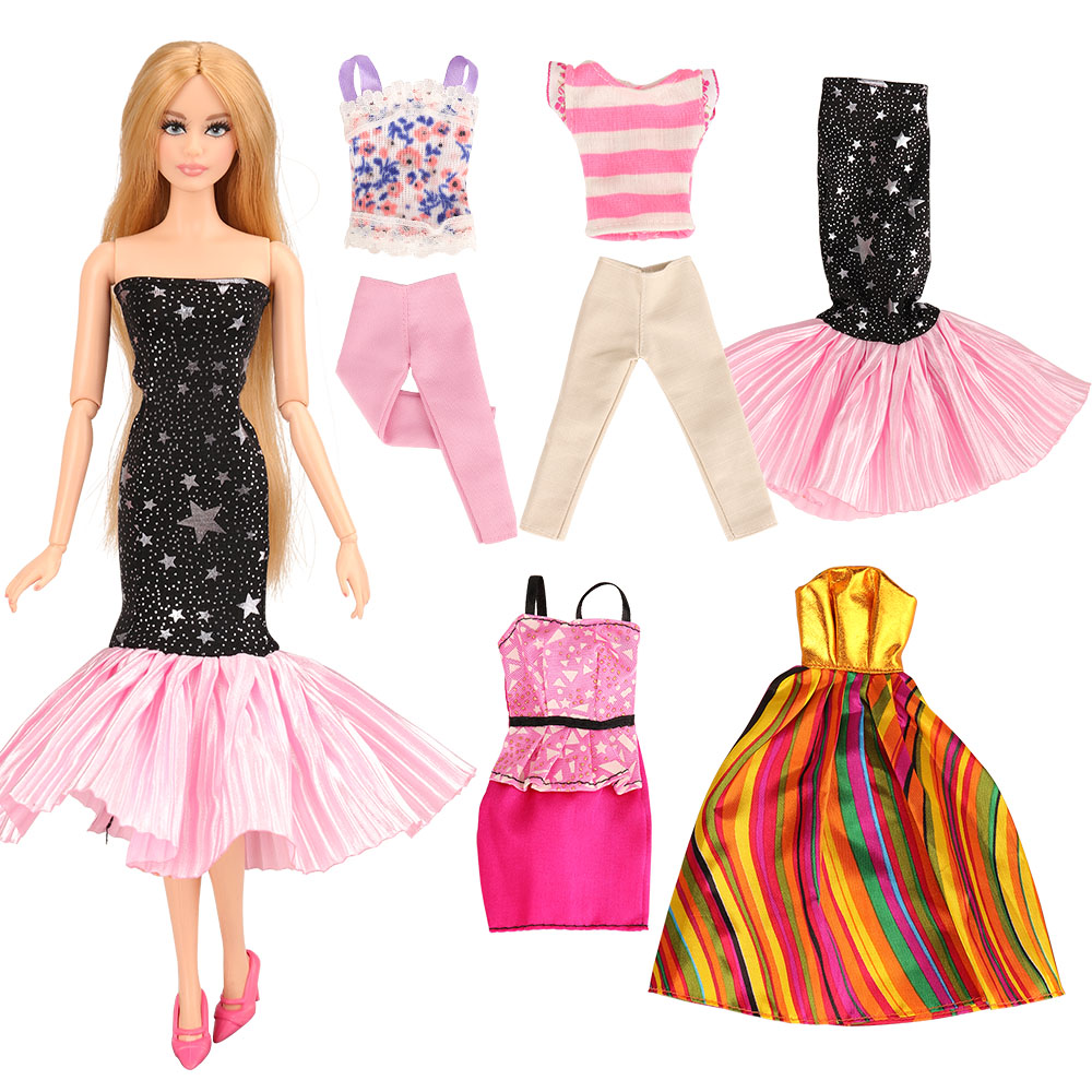 Top Selling 2019 Product Cheap Handmade Crafts 5 Items/lot  Doll Accessories Dress Wear Clothes For Barbie Dolls Present For Kid