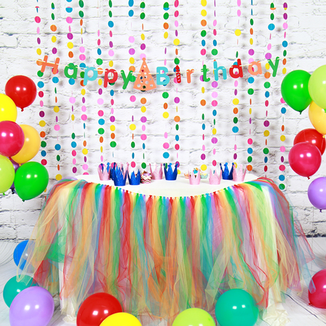 Paper Birthday Decoration Sets Happy Birthday Banner Paper Garland Balloon Table Skirt