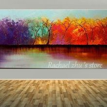 Large Hand Painted Modern Abstract Color Tree Landscape Oil Painting on Canvas Living Room Wall Art