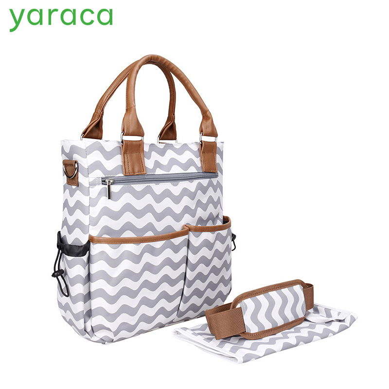 Diaper Bag For Mom Fashion Striped Nappy Bags With Changing Pads Large Capacity Maternity Handbags Baby Care Shoulder Bags