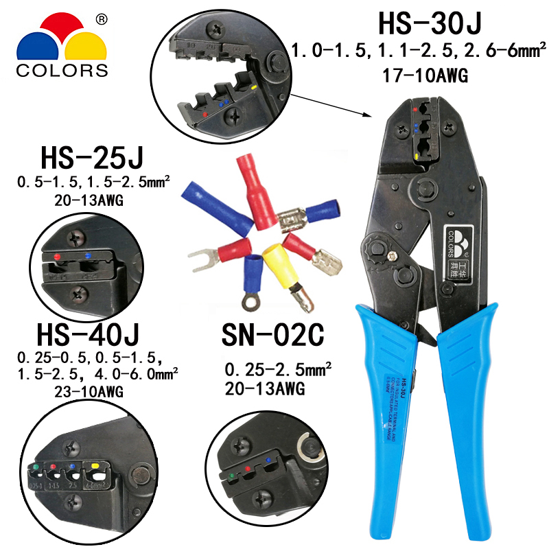 HS-30J/25J/40J 0.25-6mm2 23-10AWG Crimping Pliers For Insulated Terminals And Connectors SN-02C European Brand Tools