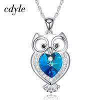 Cdyle Crystals From Swarovski Pendant Women Necklace Australian Rhinestone Owl Shaped Trendy Luxury Blue Bijoux Lady