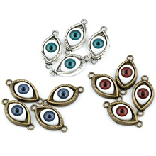 Hot !  9 pcs Antique Silver & Bronze Zinc Alloy Turkish Evil Eye charms Pendants DIY Jewelry nm176