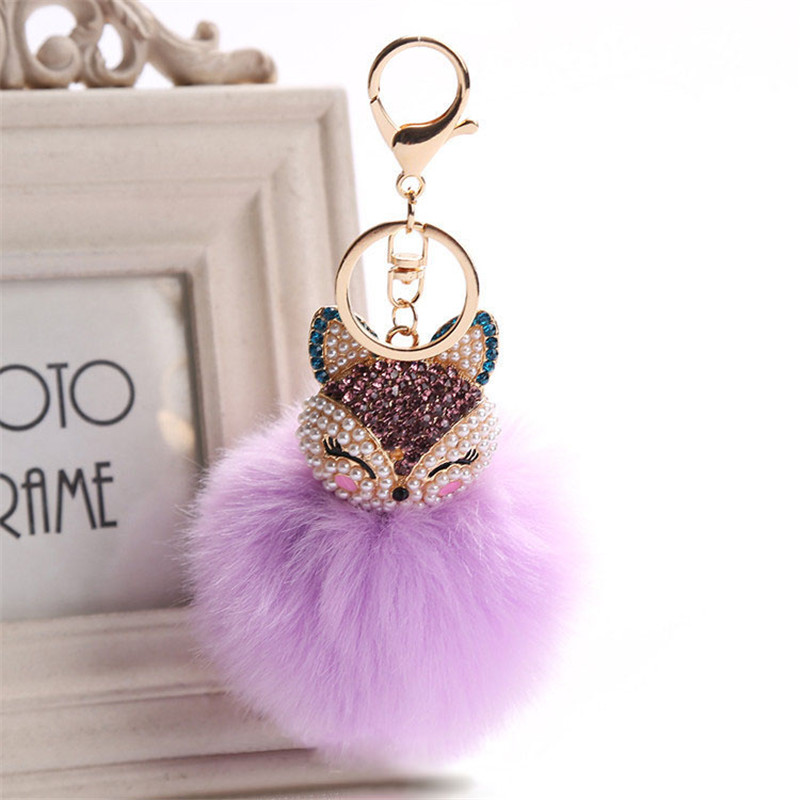 Toys & Hobbies Belbello Fashion Lovely Hair Ball Keyboard Fox Head Water Drill Pendant Bag Car Fur Hangers Holiday Gift Toy Plush Pendant New Varieties Are Introduced One After Another Plush Keychains