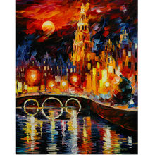 High Quality Hand Painted Modern Abstract Oil Painting On Canvas Night City Landscape Wall Art Pictures For Living Room MC160527