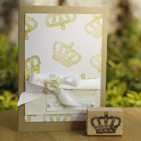 High Quality Crown C Design 4 3cm Diy Postcard Or Bookmark Scrapbooking Stamp Beatiful Wooden Rubber
