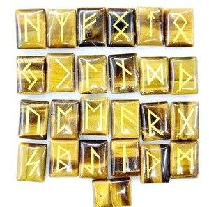 Image 3 - Tự nhiên Aventurine Pha Lê Onyx Đá Mắt Hổ Viking Chữ Rune Bùa Hộ Mệnh Bộ Reiki Chữa Bệnh Tinh Thể Bói Toán Búi Tó Đá 25 PC