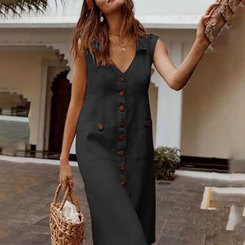 LAAMEI 2019 קיץ נשים של שמלות אלגנטי דוט הדפסת Boho שמלה נשי תורו למטה צווארון V שמלת כפתור כיס שמלה vestidos