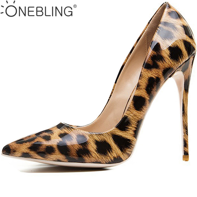 One Bling Leopard Print 12CM Super High Heel Party Shoe Fashion Metallic Pointed Toe Thin Heel Shoes Shallow Slip-On Women Pumps craylorvans top quality 8 10 12cm women pumps new fashion leopard color pointed toe high heel wedding shoes ultra thin high heel