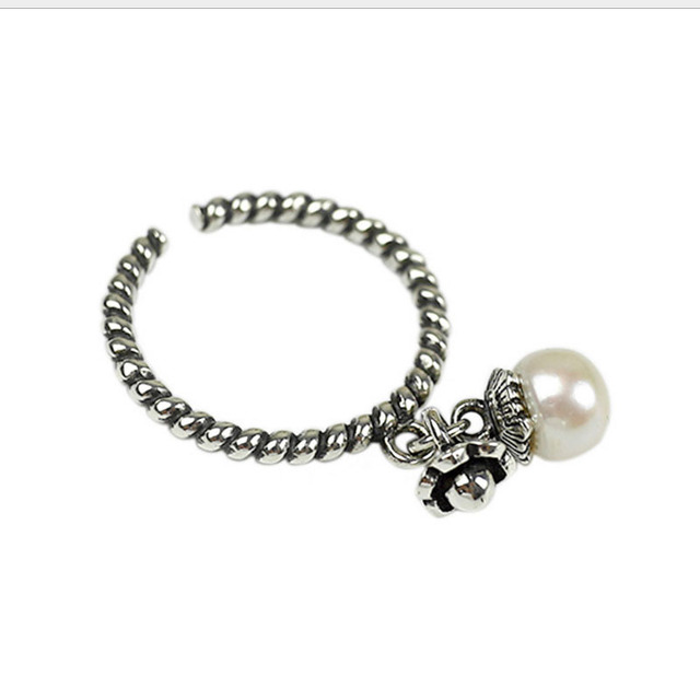 Anillo de plata pura 925 colgante de perlas naturales para mujer, joyería fina, anillos antiguos de apertura trenzada ajustable
