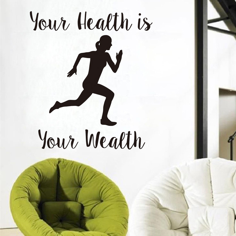 High quality pvc your health is your wealth running woman high quality pvc your health is your wealth running woman inspiring wall stickers home decor removable sport wall decals vinyl in underwear from mother amipublicfo Image collections