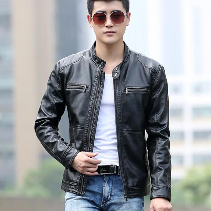 Aliexpress.com : Buy Men's leather Jacket design stand collar Coat ...