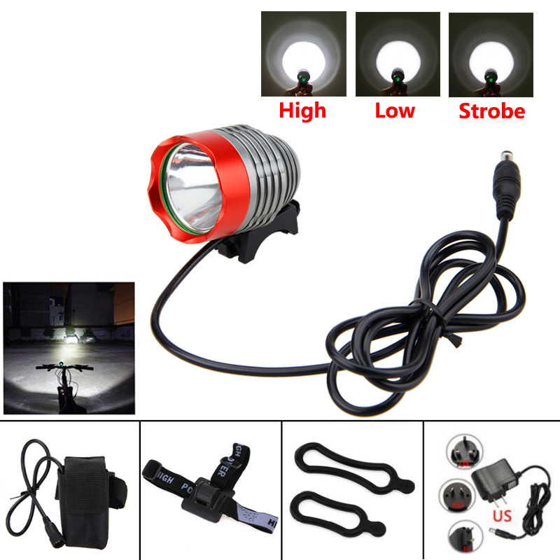 Front Bicycle Headlight T6 LED Bike Light MTB Safety Night Riding Lamp +6400mAh Rechargeable Battery Pack+8.4v Charger