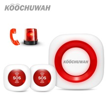 цены Koochuwah Panic Button System SMS Alarm 2G Network GSM Security Emergency Button Wireless Panic Alarm Button Call for Elderly