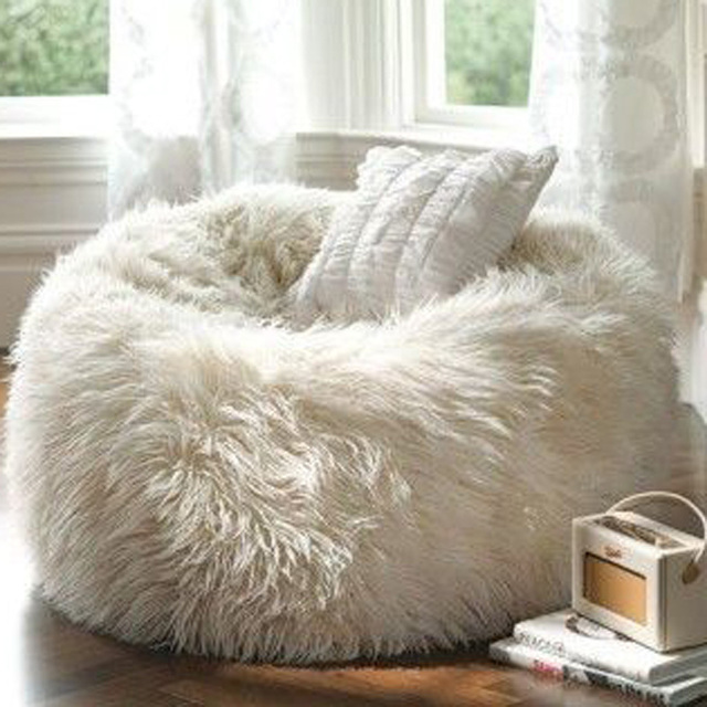 Attirant Faux Fur Bean Bag Plush Lazy Bean Bag Chair Seat Living Room Beanbag Chair  Without Filling