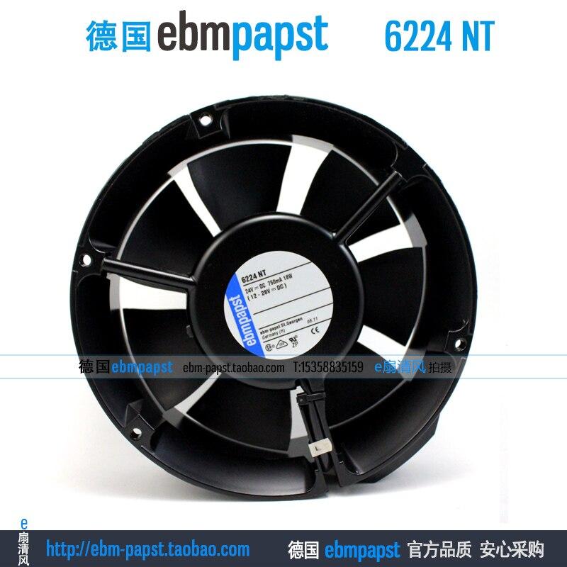 Original new ebm papst 6224NT 6224 NT DC 24V 0.75A 18W 172x172x51mm Server Round fan new original ebm papst iq3608 01040a02 iq3608 01040 a02 ac 220v 240v 0 07a 7w 4w 172x172mm motor fan