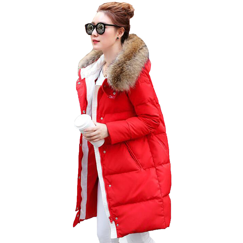 2018 Thicken Women Winter   Down   Jacket Women Real Natural Fur Collar Hooded Warm Long Duck   Down     Coat   Parka Fashion Winter   Coat