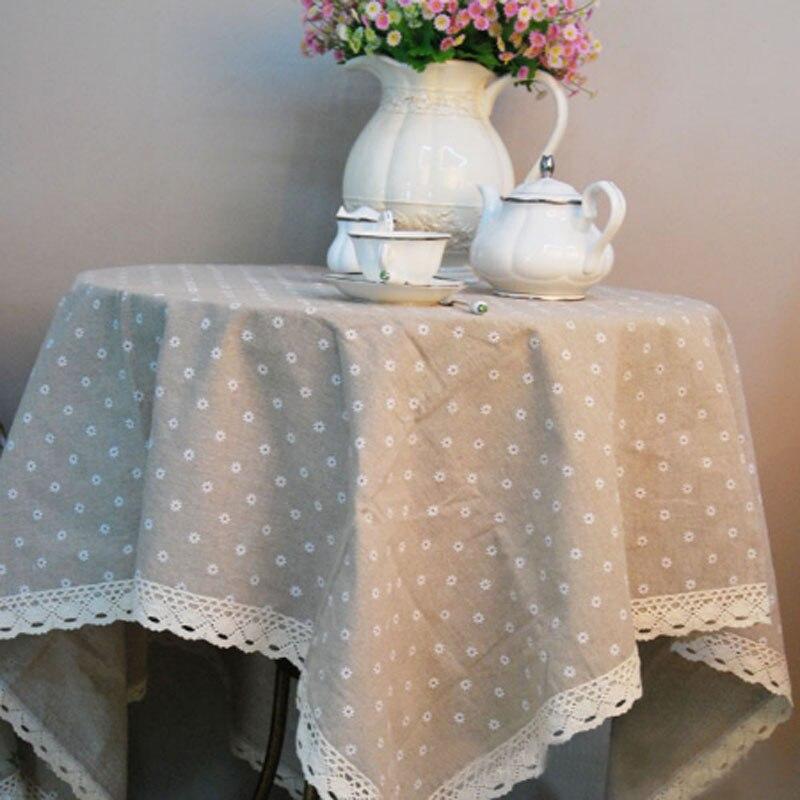 פסטורלי פוליאסטר פשתן מלבן מפת שולחן פרחוני הדפסת תחרה עיצוב מפלגה, אירועים, מלון קישוט עבור אוכל שולחן, ספה