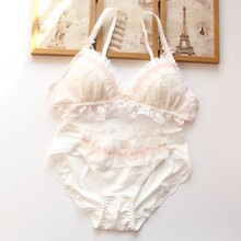 YOURMIX Top Quality Wire Free Floral Lace White Cutie Lolita Style Kawaii Bra and Brief Set Girl Lingeria(China)