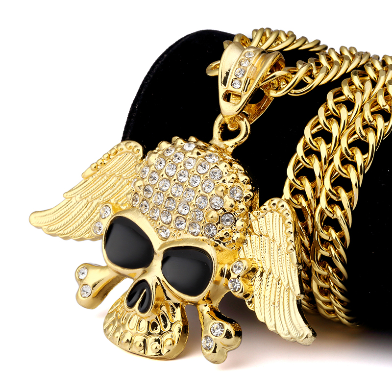 Online Shop Mens Women Bling Golden Black Eyes Ghost Wings Pendants Necklaces Charm Crystal Skull Head Hip Hop Chains Jewelry Gifts