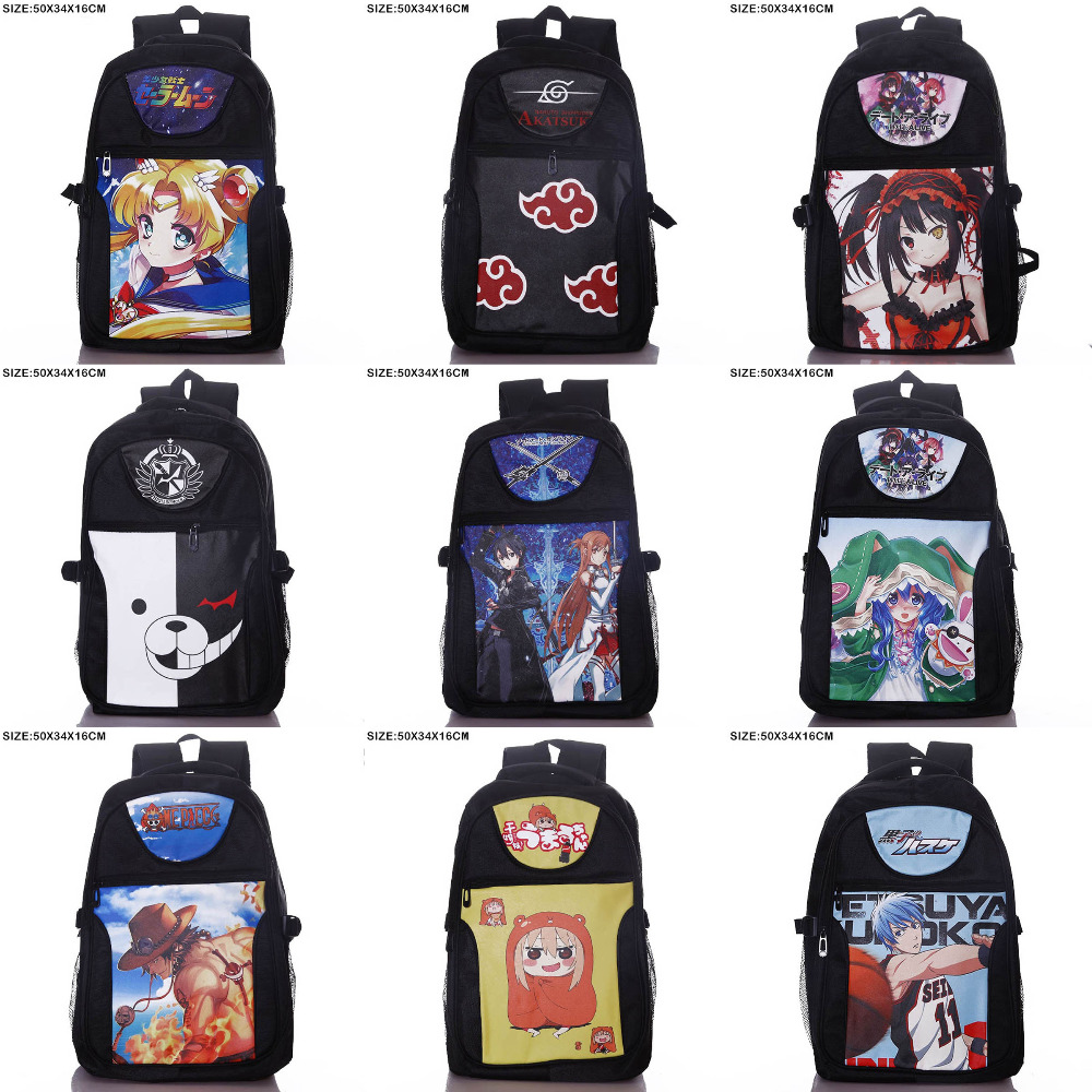 Anime Miku/Monokuma/One Piece/Naruto/Date A Live/Fairy Tail etc Laptop Backpack/Double-Shoulder/School/Travel Bag for Teenagers ceative new arrival anime gintama fairy tail naruto one piece conan totoro etc khaki pu long wallet purse